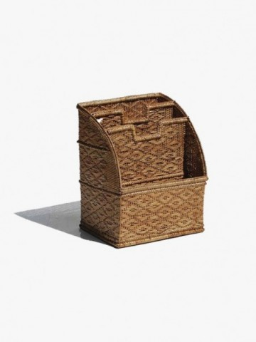 RATTAN NOTE AND PEN TRAY