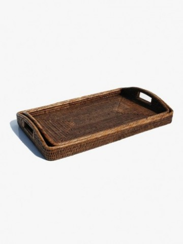 RUSTIC TRAY SET WITH LEATHER HANDLES