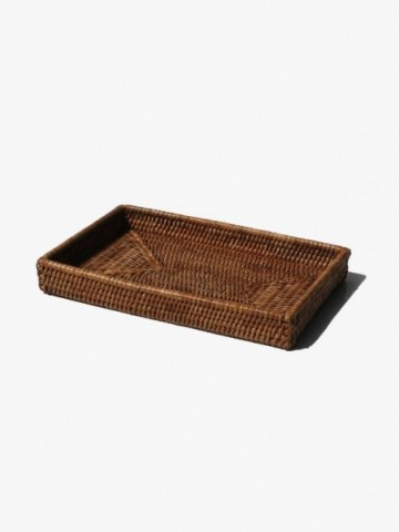 RATTAN RUSTIC TRAY SET WITH LEATHER HANDLES