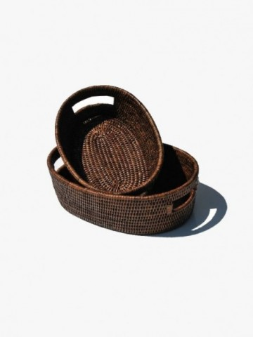 RATTAN STORAGE BASKET WITH INSERT HANDLE
