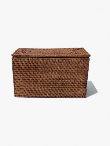 RATTAN WASTE BASKET WITH INSERT HANDLE