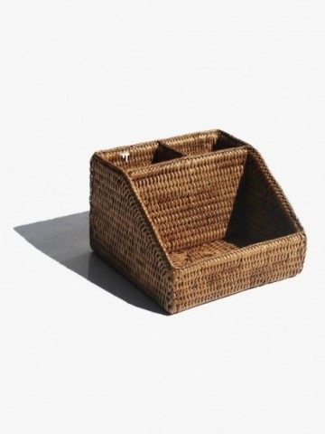 RATTAN OVAL BASKET WITH HANDLES